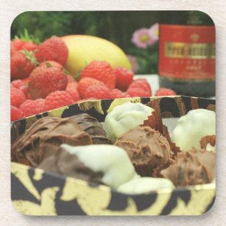 Chocolate dipped prunes drink coaster