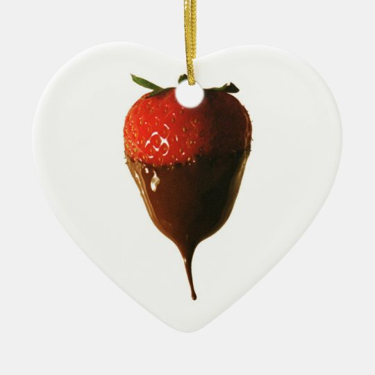 Chocolate dipped strawberry ceramic ornament