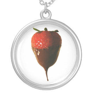 Chocolate dipped strawberry silver plated necklace