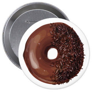 Chocolate Dipped with Chocolate Sprinkles Doughnut Pinback Button