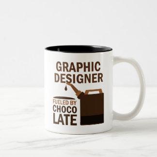 Chocolate (divertido) del diseñador gráfico taza dos tonos