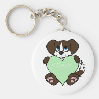 Chocolate Dog with Blaze & Light Green Heart Keychain
