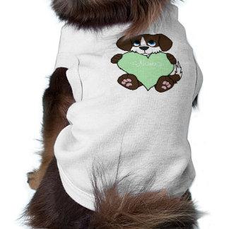 Chocolate Dog with Blaze & Light Green Heart Shirt