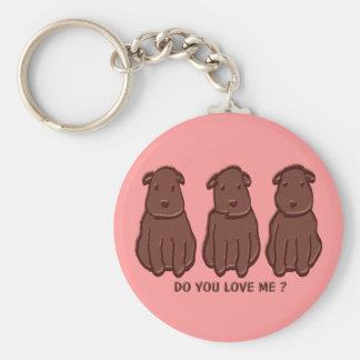 Chocolate Dogs Basic Round Button Keychain