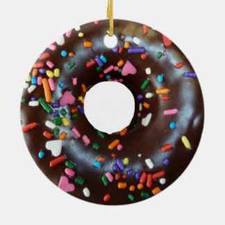 Chocolate donut ceramic ornament