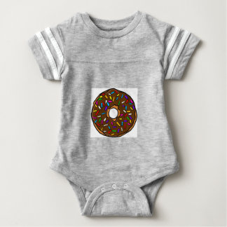 Chocolate Donut Rainbow Colorful Sprinkles Art Yum Baby Bodysuit