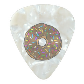 Chocolate Donut Rainbow Colorful Sprinkles Art Yum Pearl Celluloid Guitar Pick