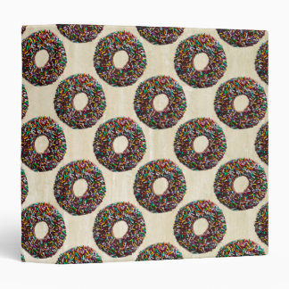 Chocolate Donut with colorful sprinkles 3 Ring Binder