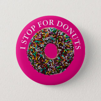 Chocolate Donut with colorful sprinkles Pinback Button