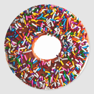 Chocolate Donut with Jimmies Classic Round Sticker