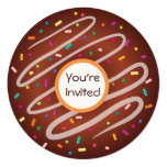 Chocolate Donut with Sprinkles Birthday 5.25x5.25 Square Paper Invitation Card