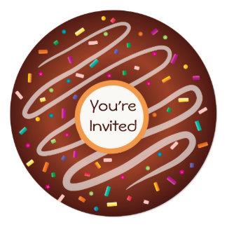 "Chocolate Donut with Sprinkles Birthday 5.25"" Square Invitation Card"