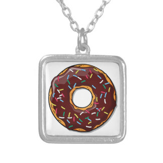 Chocolate Donut with Sprinkles Silver Plated Necklace
