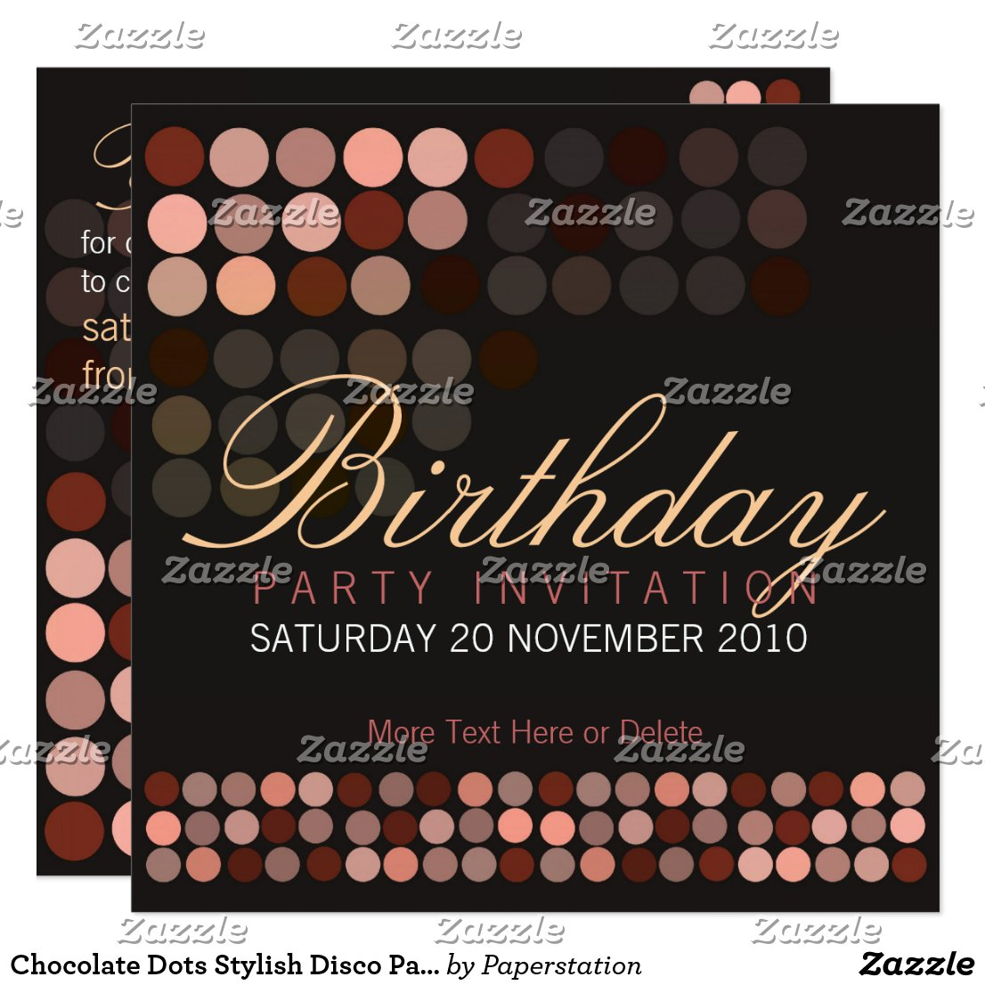 Chocolate Dots Stylish Disco Party Birthday Invita Card