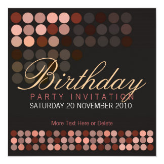 Chocolate Dots Stylish Disco Party Birthday Invita Card