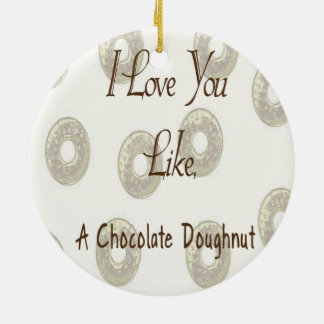 Chocolate Doughnut Ceramic Ornament