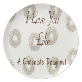 Chocolate Doughnut Melamine Plate