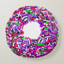 Chocolate Doughnut Pink Purple Green Sprinkles Round Pillow