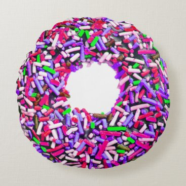Christmas Themed Chocolate Doughnut Pink Purple Green Sprinkles Round Pillow