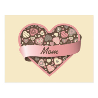 Chocolate Dream - heart with banner, customizable Postcard