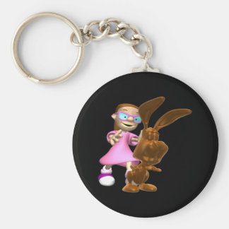 Chocolate Easter Bunny Basic Round Button Keychain