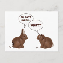Chocolate Easter Bunny Rabbits Butt Hurts Holiday Postcard