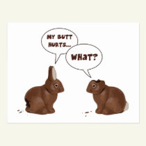 Chocolate Easter Bunny Rabbits Butt Hurts Postcard