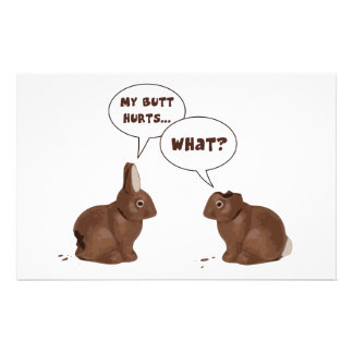 Chocolate Easter Bunny Rabbits Butt Hurts Stationery