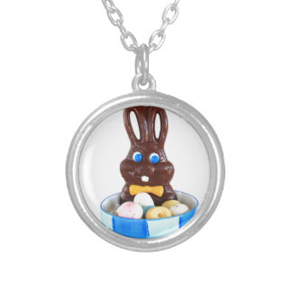 Chocolate Easter Bunny Round Pendant Necklace