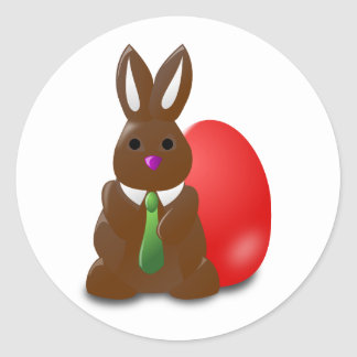 Chocolate Easter Bunny Round Stickers