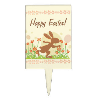 Chocolate Easter Bunny with Flowers Cake Toppers