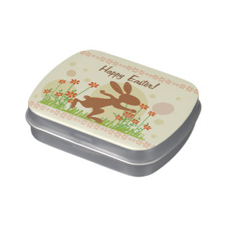 Chocolate Easter Bunny with Flowers Jelly Belly Candy Tins
