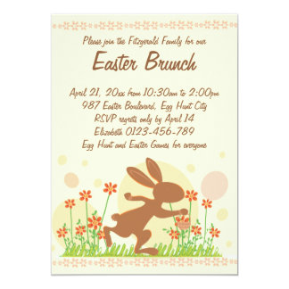 Chocolate Easter Bunny with Flowers Easter Brunch Card