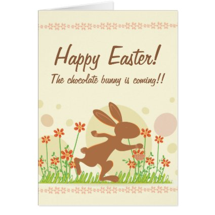 Chocolate Easter Bunny with Flowers Greeting Card