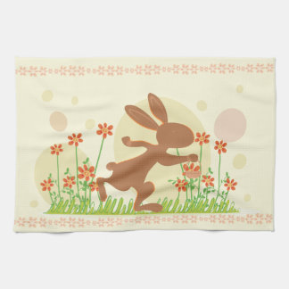 Chocolate Easter Bunny with Flowers Hand Towels