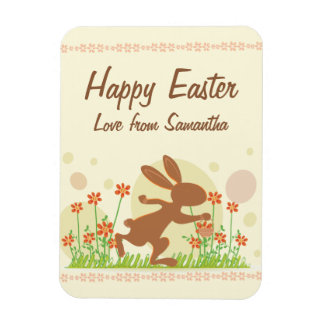 Chocolate Easter Bunny with Flowers Rectangular Photo Magnet