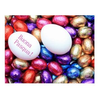 Chocolate easter eggs italian greeting card postcard