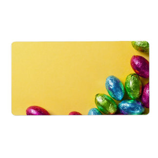 Chocolate Easter Eggs On Yellow Paper Background Label