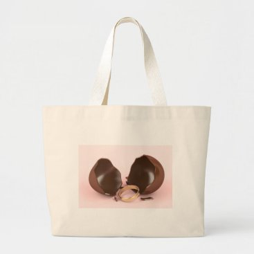 Wedding Themed Chocolate egg and engagement ring large tote bag