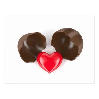 Chocolate egg and heart postcard