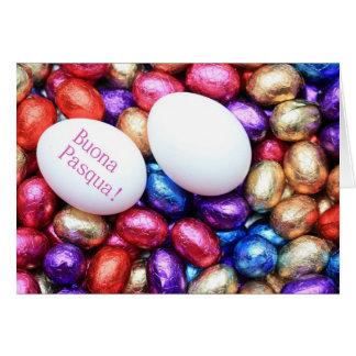 Chocolate eggs easter greeting italian greeting card