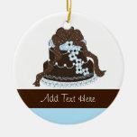 Chocolate elegante y torta azul del diseñador ornamentos de reyes