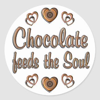 Chocolate Feeds the Soul Classic Round Sticker