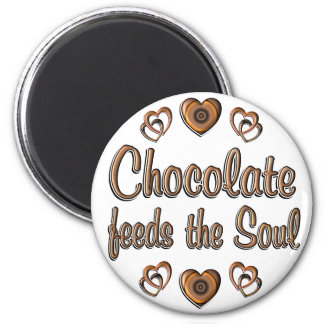 Chocolate Feeds the Soul 2 Inch Round Magnet