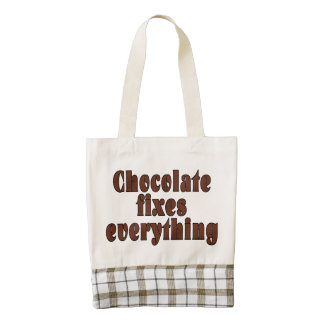 Chocolate fixes everything zazzle HEART tote bag