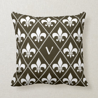 Chocolate Fleur de Lis with monogram initial Throw Pillow