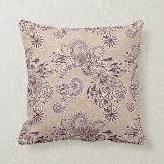 Chocolate Floral & Scroll Pattern Pillow