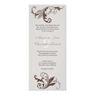 Chocolate Flower Swirls Damask Elegant Wedding Card