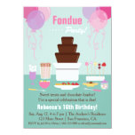 Chocolate Fondue Fountain Girls Birthday Party 4.5x6.25 Paper Invitation Card