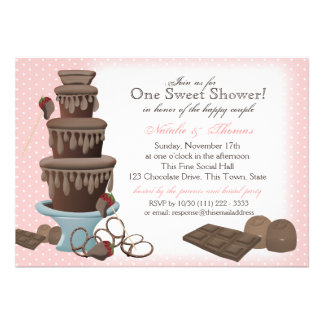 Chocolate Fountain Bridal Shower Pink Personalized Announcement